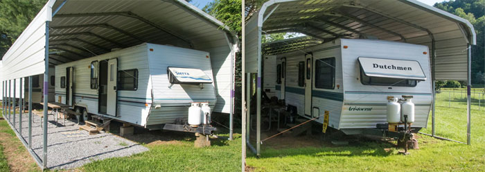 two camper trailers